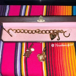 Juicy Couture gold started bracelet crown charms